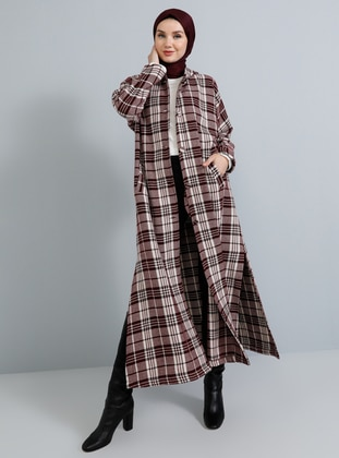 Multi - Red - Plaid - Unlined -  - Poncho