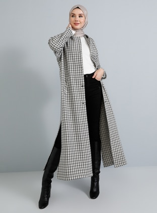 Gray - Plaid - Unlined -  - Poncho