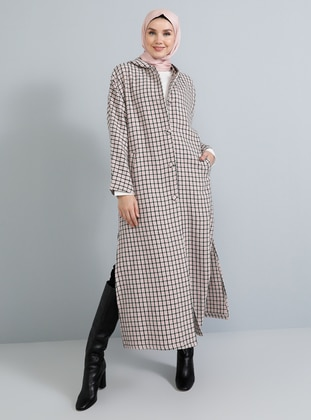 Pink - Plaid - Unlined -  - Poncho