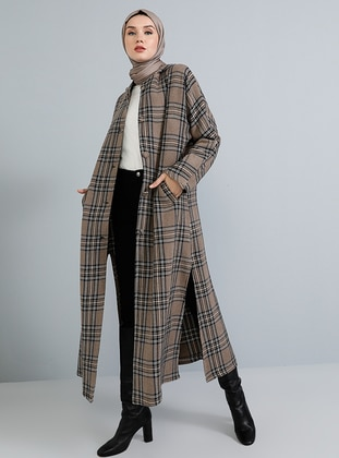 Mink - Plaid - Unlined -  - Poncho