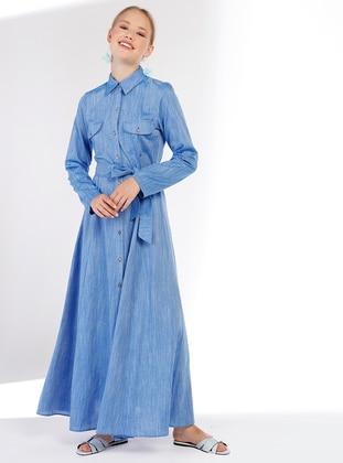 Indigo - Point Collar - Unlined - Linen - Dress