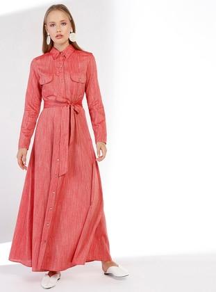 Red - Point Collar - Unlined - Linen - Dress