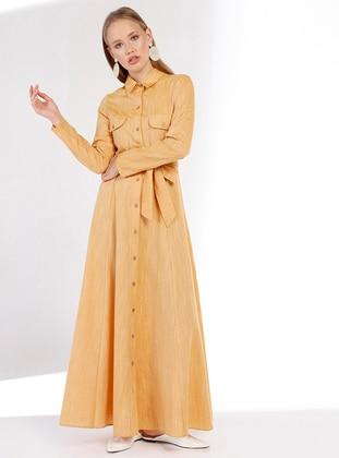 Yellow - Point Collar - Unlined - Linen - Dress