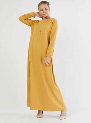 Mustard - Crew neck - Unlined - Cotton -  - Dress