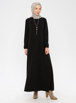 Black - Crew neck - Unlined - Cotton -  - Dress