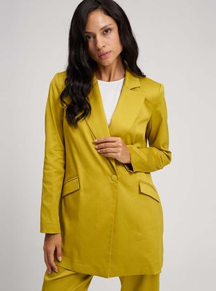 Yellow - Unlined - Shawl Collar -  - Jacket