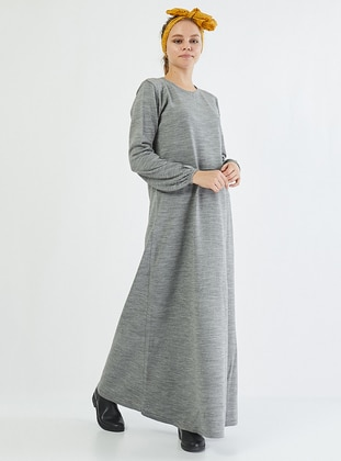 Gray - Crew neck - Unlined - Acrylic -  - Dress