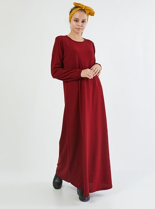 Maroon - Crew neck - Unlined - Acrylic -  - Dress
