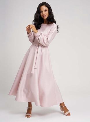Pink - Boat neck - Unlined -  - Dress