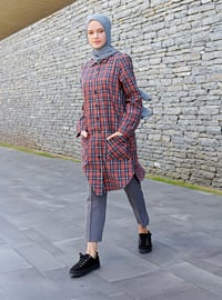 Terra Cotta - Plaid - Point Collar -  - Tunic
