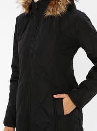 Black - Unlined - Polo neck - Coat