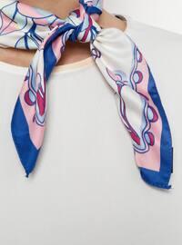 White - Blue - Printed - Shawl