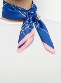 Navy Blue - Pink - Printed - Shawl