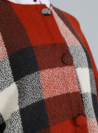 Red - Plaid - Crew neck - Unlined - Acrylic - Poncho