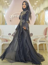 Anthracite - Fully Lined - Crew neck - Muslim Evening Dress