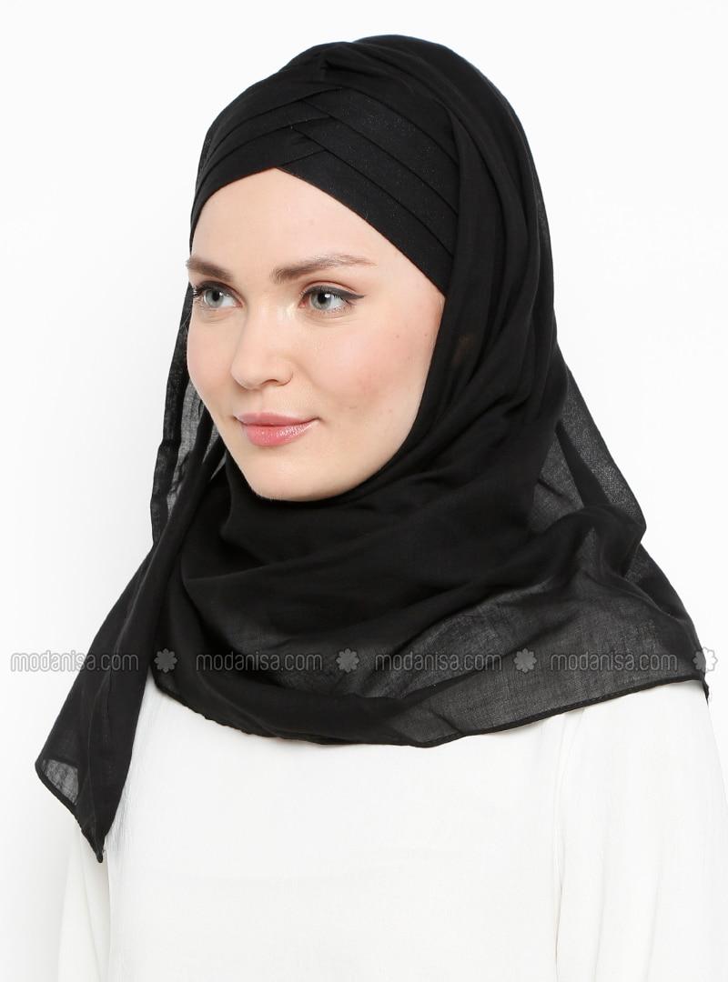 Black - Plain - Cotton - Instant Scarf