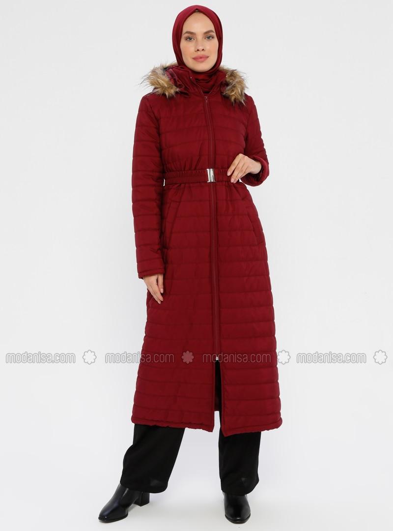 Maroon - Unlined - Polo neck - Coat