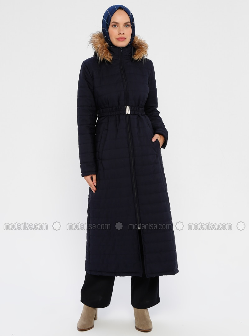 Navy Blue - Unlined - Polo neck - Coat