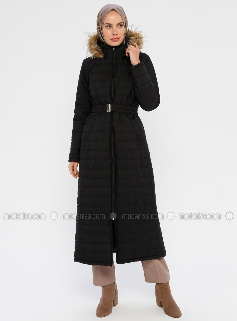 Black - Unlined - Polo neck - Coat