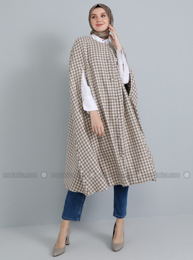 Beige - Houndstooth - Crew neck - Unlined - Acrylic - Poncho
