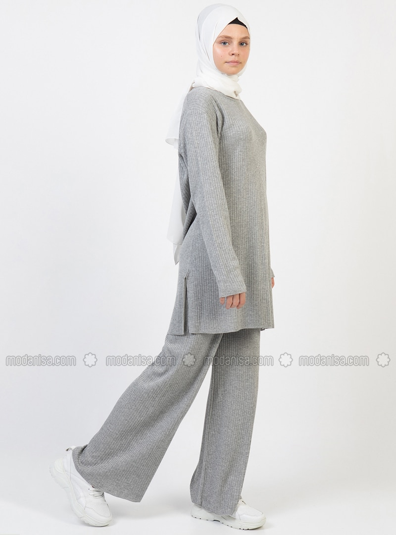 Gray - Unlined - Acrylic -  - Suit