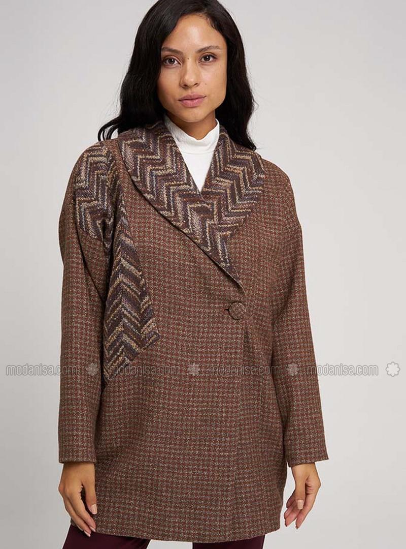 Beige - Multi - Fully Lined - Shawl Collar -  - Jacket