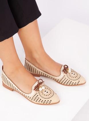 Cream - Flat - Shoes - Ayakkabı Havuzu