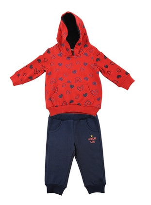 Heart Print -  - Unlined - Red - Baby Suit