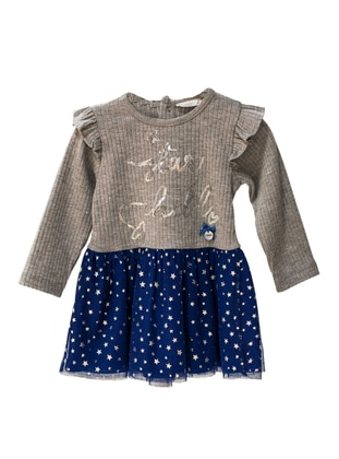 Crew neck -  - Unlined - Gray - Baby Dress