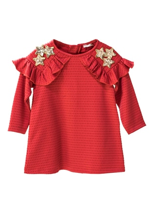 Crew neck -  - Unlined - Red - Baby Dress