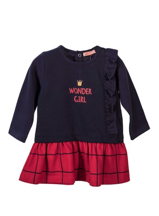 Crew neck -  - Unlined - Navy Blue - Baby Dress