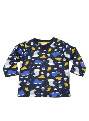 Multi - V neck Collar -  - Unlined - Navy Blue - Baby Cardigan