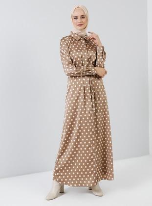 Beige - Polka Dot - Point Collar - Unlined - Dress