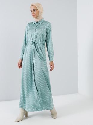 Mint - Polka Dot - Point Collar - Unlined - Dress