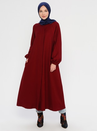 Maroon - Fully Lined - Crew neck - Trench Coat
