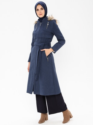 Indigo - Fully Lined - Crew neck - Coat