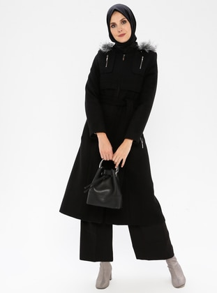 Black - Fully Lined - Crew neck - Coat - BÜRÜN