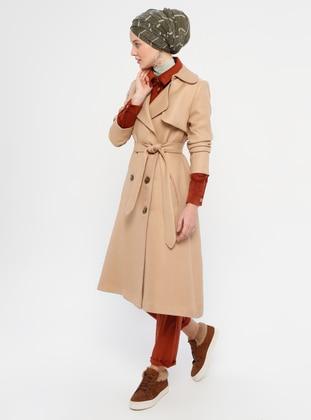 Camel - Unlined - V neck Collar - Coat