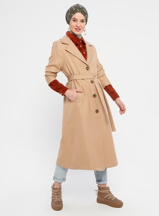 Camel - Unlined - V neck Collar - Coat