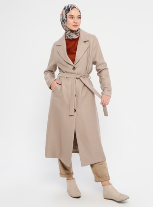 Stone - Unlined - V neck Collar - Coat