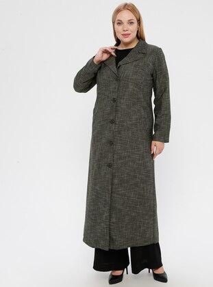 Khaki - Fully Lined - Shawl Collar - Plus Size Coat