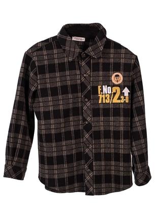 Checkered - Point Collar -  - Viscose - Unlined - Khaki - Boys` Shirt