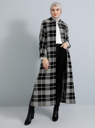 Black - Plaid - Unlined -  - Poncho