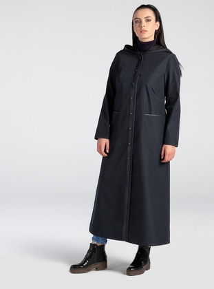 Navy Blue - Fully Lined - Plus Size Overcoat - MİCCA