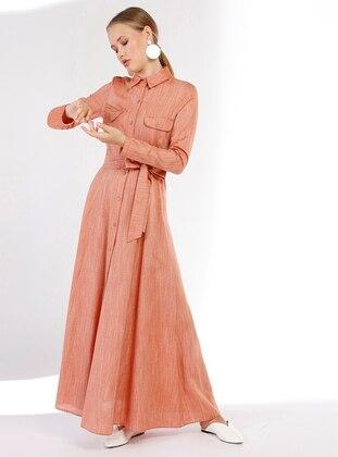 Orange - Point Collar - Unlined - Linen - Dress