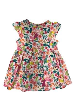 Floral - Crew neck - Cotton - Multi - Baby Dress