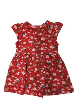 Floral - Crew neck - Cotton - Red - Baby Dress