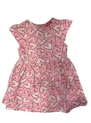 Heart Print - Crew neck - Cotton - Pink - Baby Dress