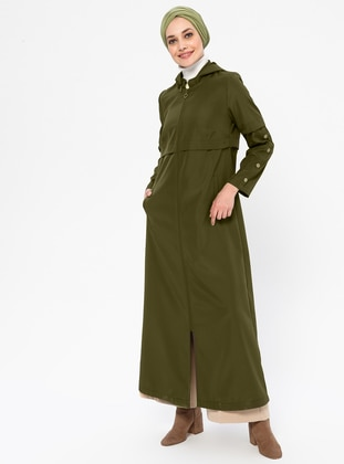 Khaki - Unlined - Plus Size Overcoat - MİCCA