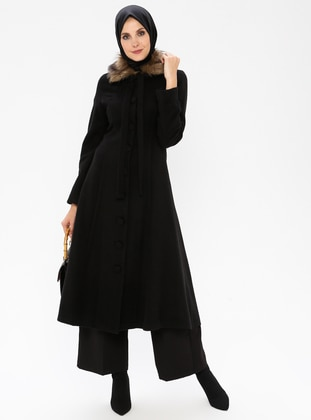 Black - Fully Lined - Point Collar - Coat - BÜRÜN